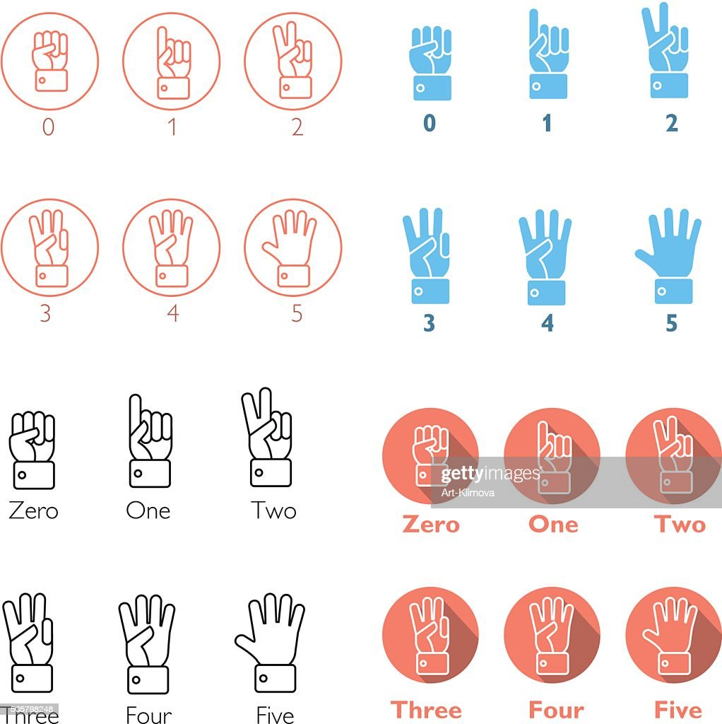 Set of vector counting hands.