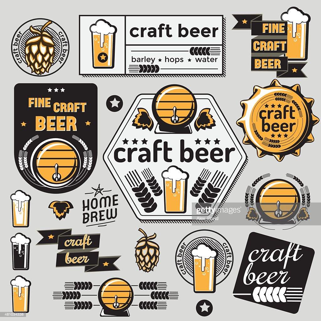 Set of vector craft beer emblems