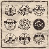 Set of vector craft beer labels.