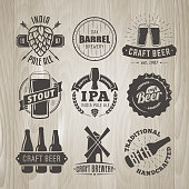 Set of vector craft beer logos and badges.