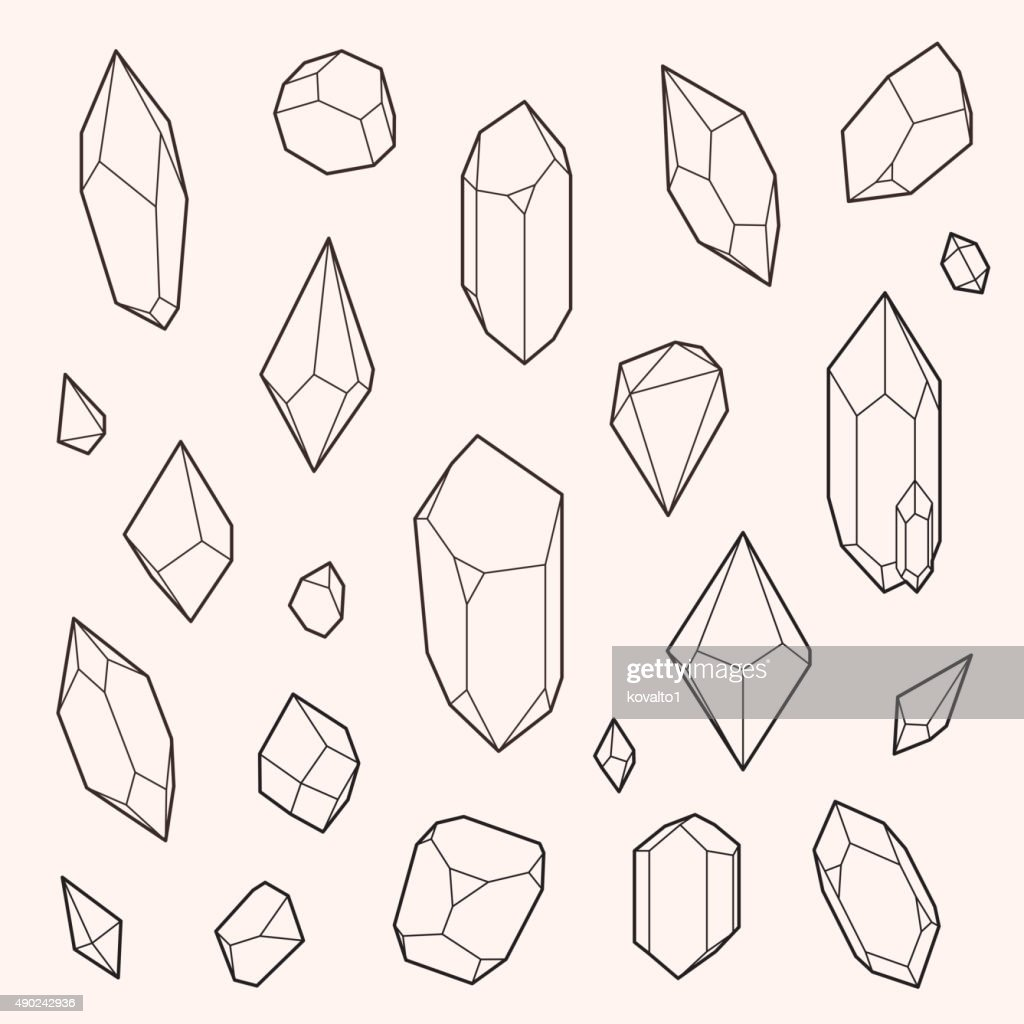 Set of vector crystal shapes