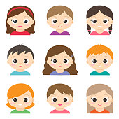 Set of vector cute girls and boys