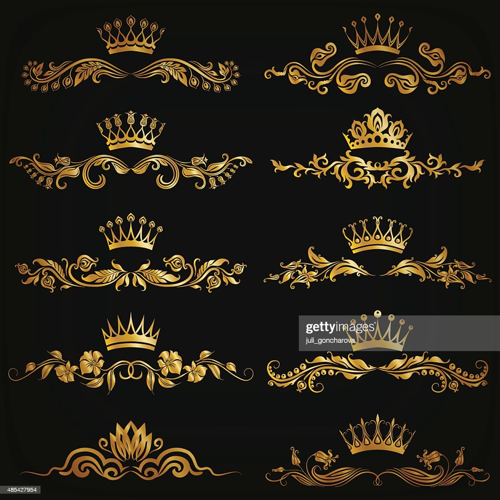Set of vector damask ornaments
