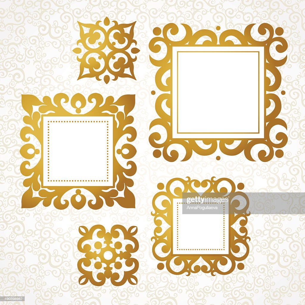 Set of vector decorative frames in Victorian style.