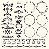 Set of vector decorative round frames and elements