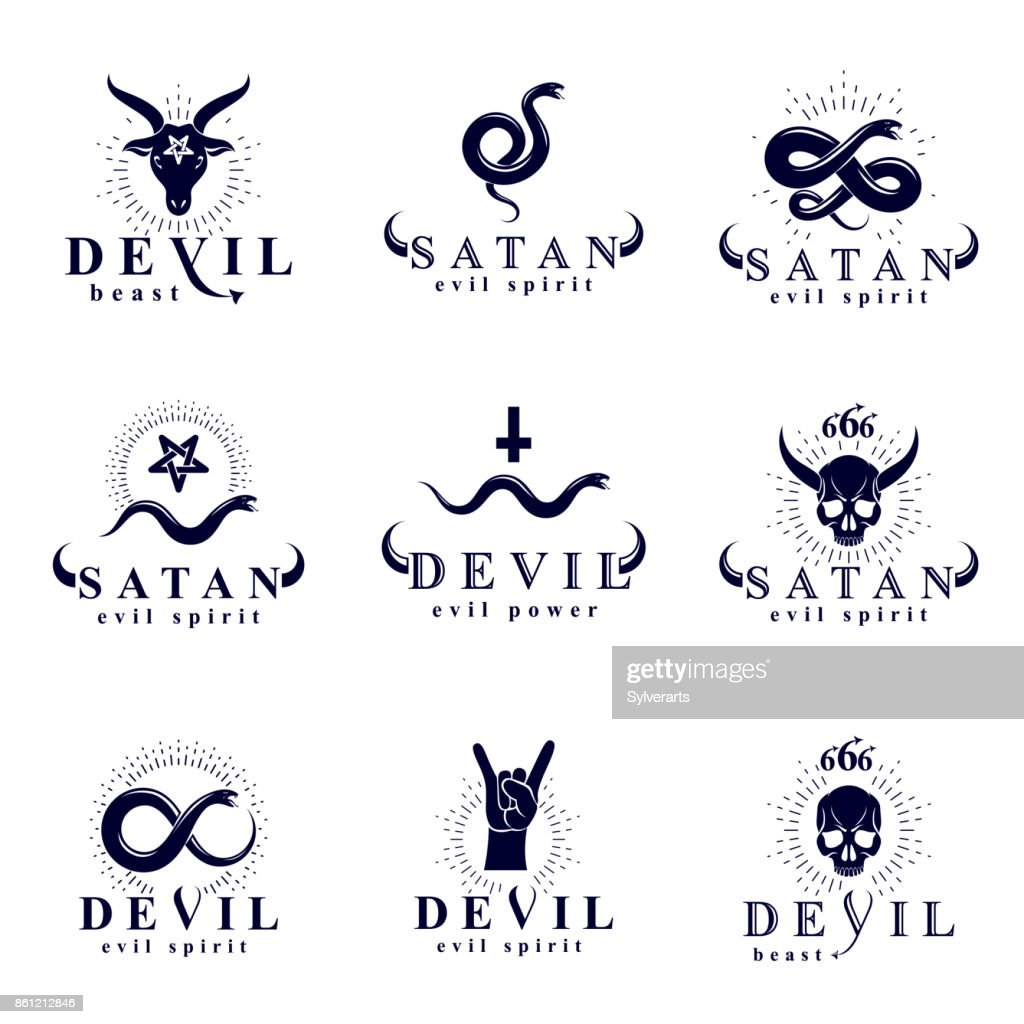 Set of vector demonic infernal mystic logotypes created using poisonous snakes, horned wicked dead head symbols, pagan pentacles and goats with 666 numbers as illustration of Lucifer.