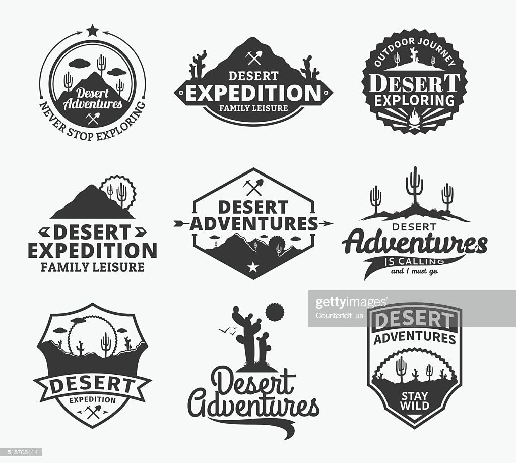 Set of vector desert adventures labels