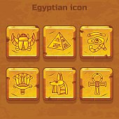 Set of vector design golden egypt travel icons culture ancient elements