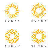 Set of vector design template. Sun abstract icons.