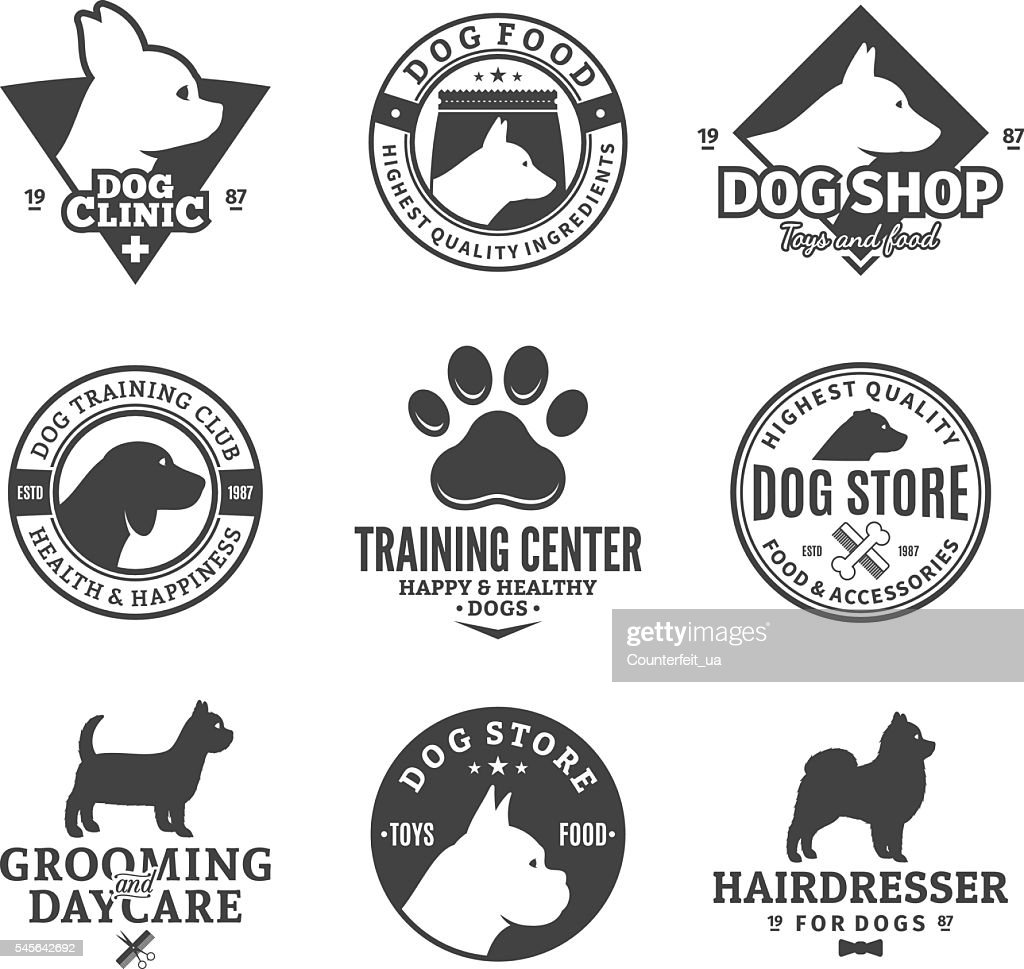 Set of vector dog labels and design elements