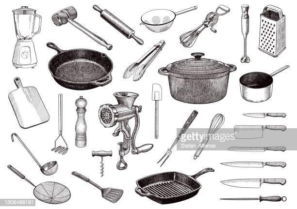キッチンツールのベクトル図面のセット - ダッチオーブン点のイラスト素材/クリップアート素材/マンガ素材/アイコン素材
