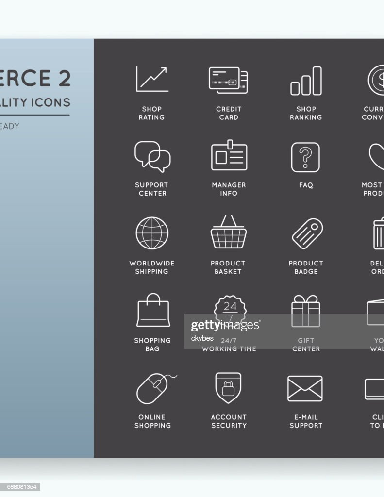 Set of Vector E-Commerce Icons Shopping and Online can be used as icon or Icon in premium quality