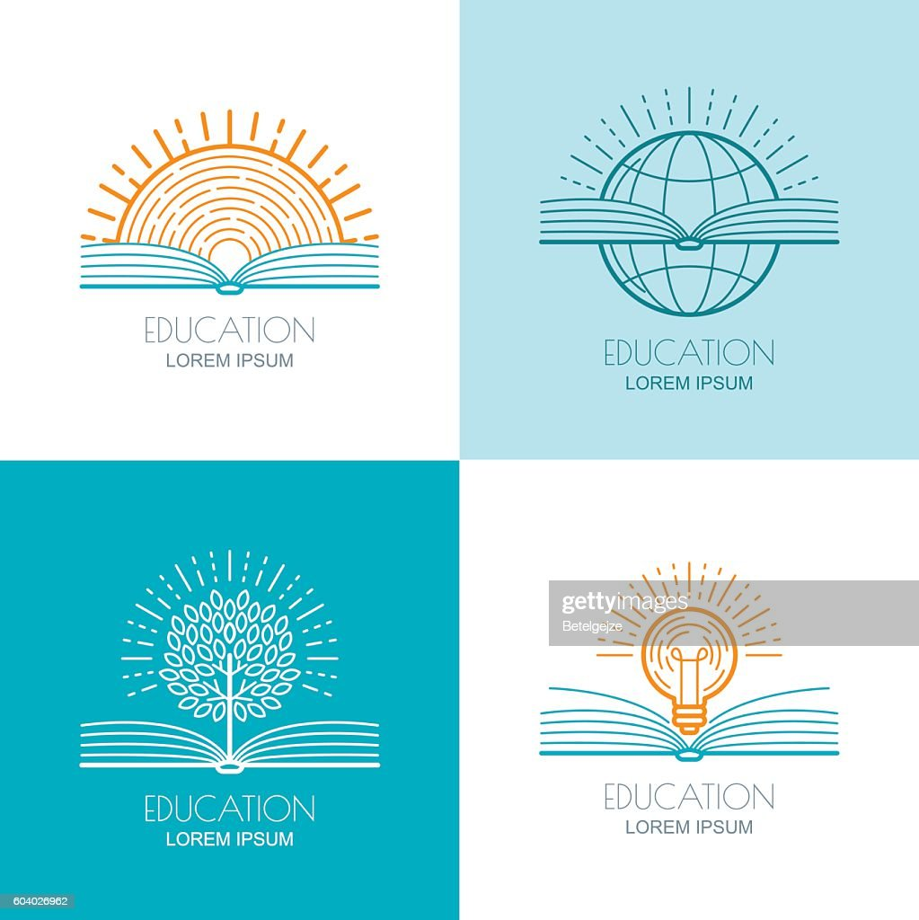 Set of vector education icons, emblems design elements.