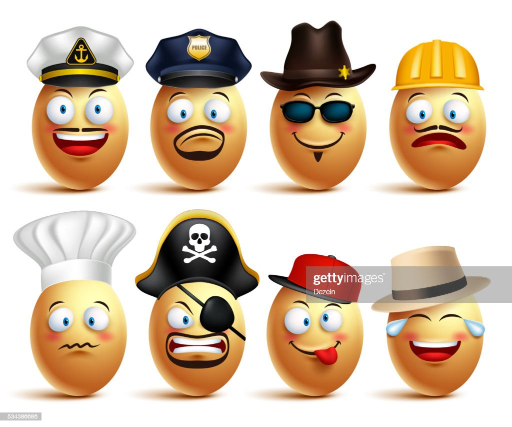 Set of vector egg faces of professionals with caps