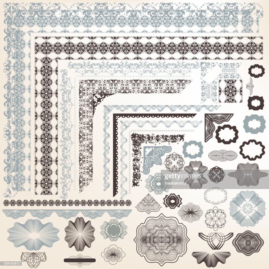Set of vector elements for certificate designs