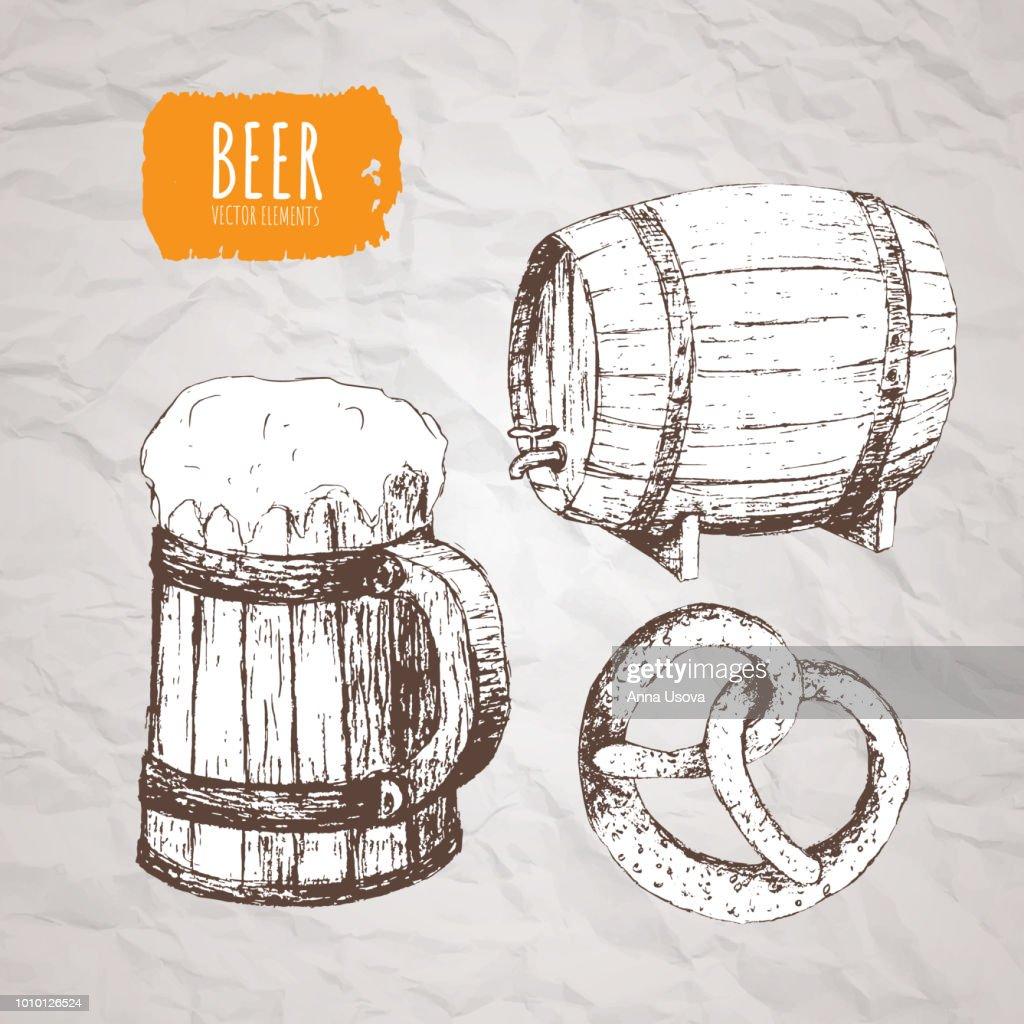 A set of vector elements on the theme of Oktoberfest. Oktoberfest. Beer festival
