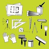 Set of vector elements tools for repair