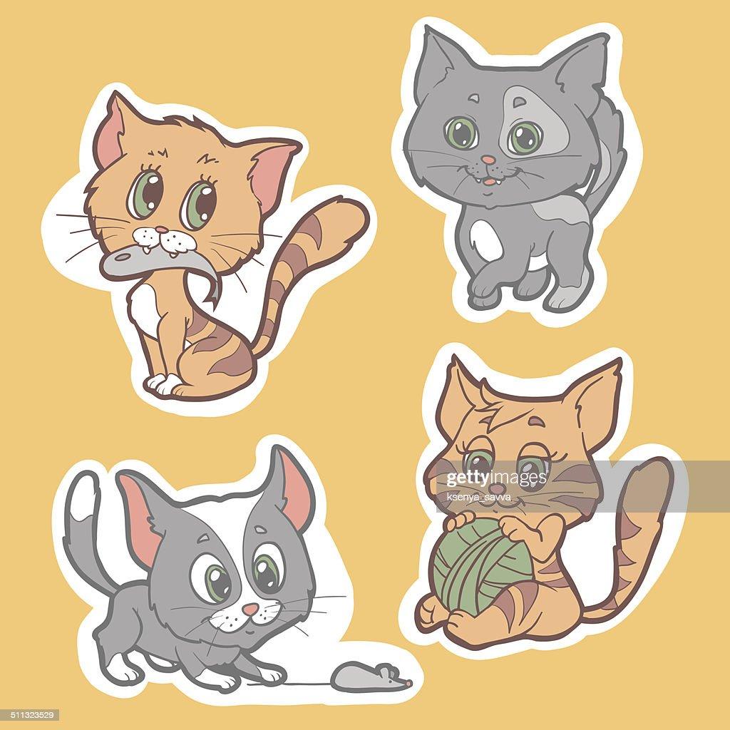 Set of vector elements (cats)