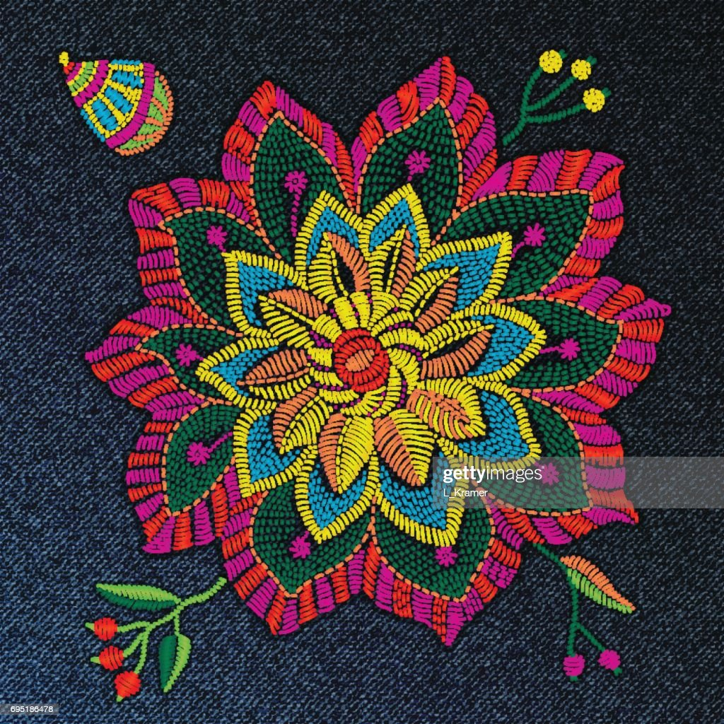 Set of vector embroidery flowers, leaves, branches in folk style. Bright colors on a jeans denim dark indigo blue background. Indian folk decoration for textile