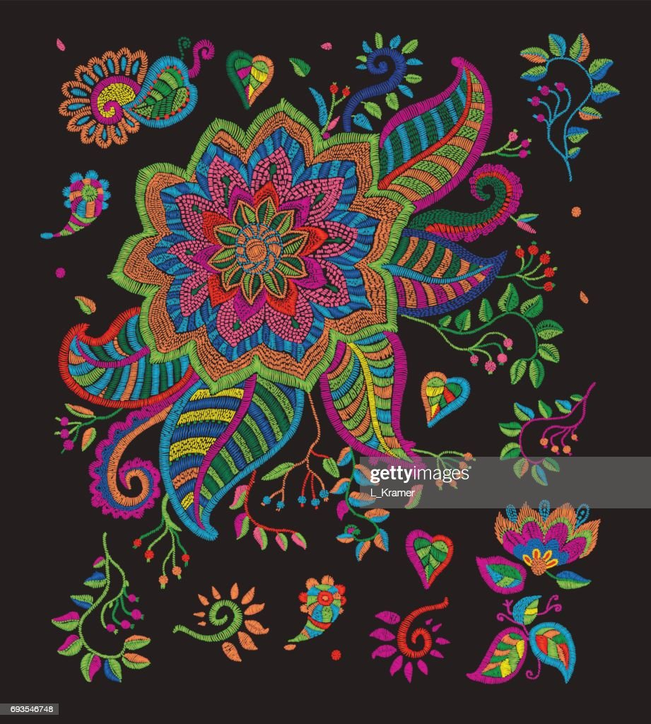 Set of vector embroidery flowers, leaves, branches in Indian folk style. Bright colors on a black background. Indian folk decoration for textile. Book cover, batik paint, retro poster, vintage ornament elements