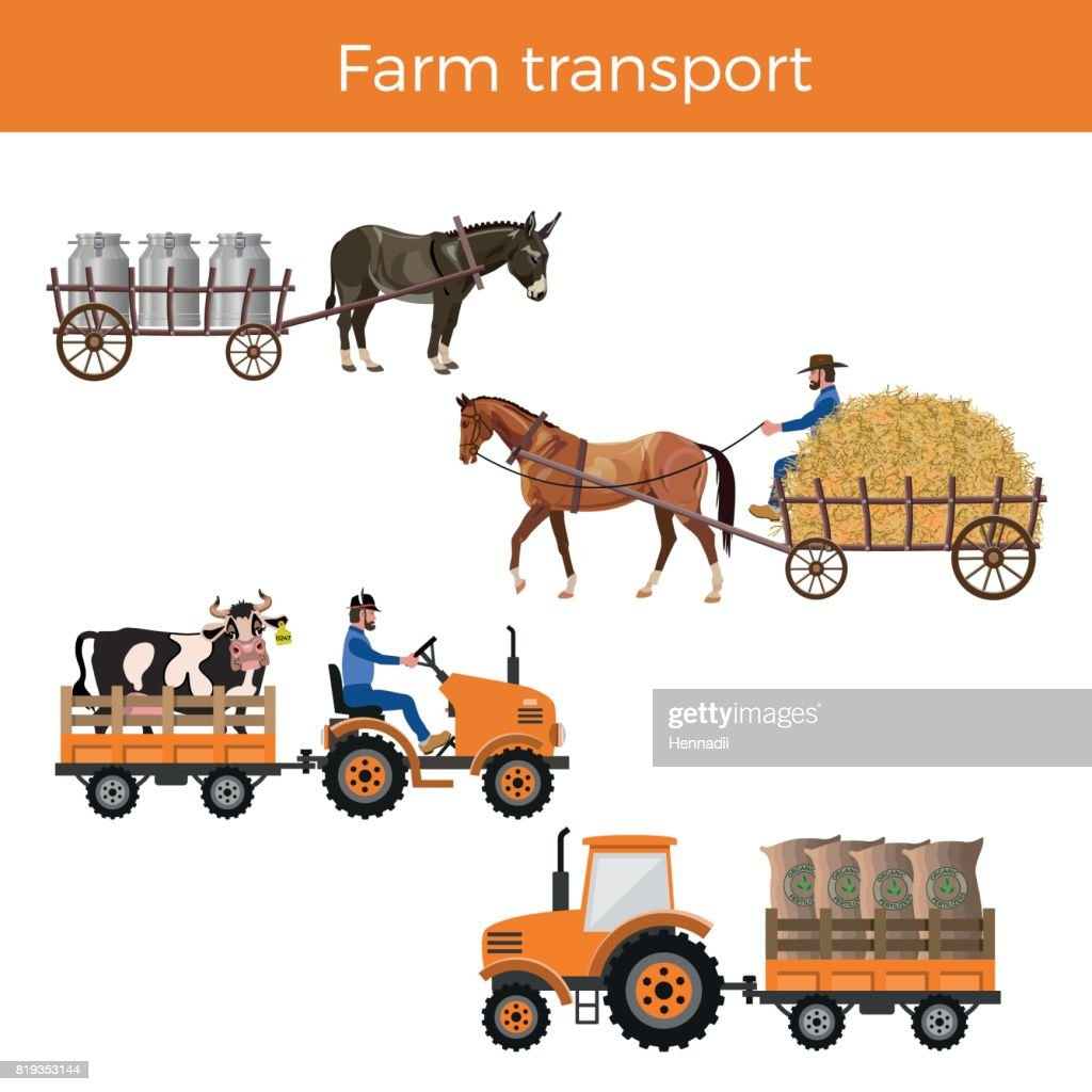 Set of vector farm transport