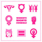 Set of vector feminist icons including female symbol, equality sign, pussy hat and raised fist.