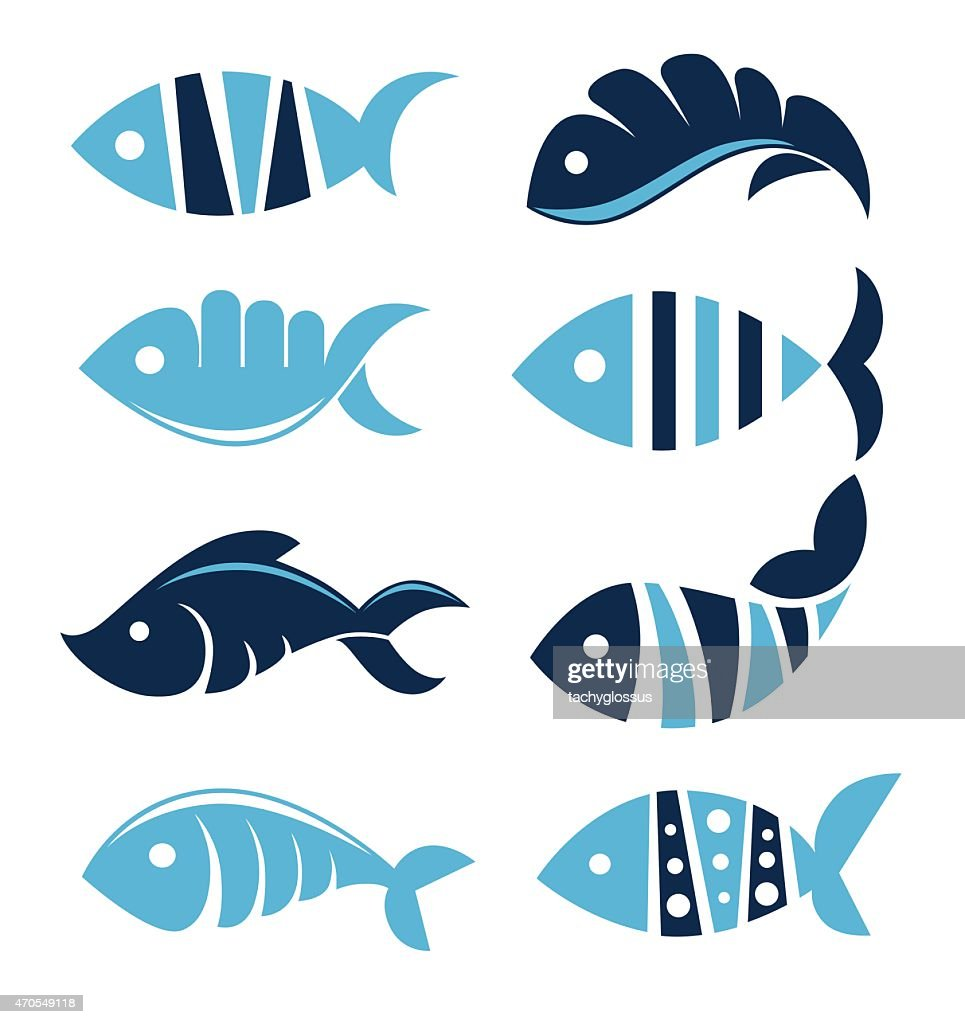 Set of vector fish icons, signs, symbols and emblems..
