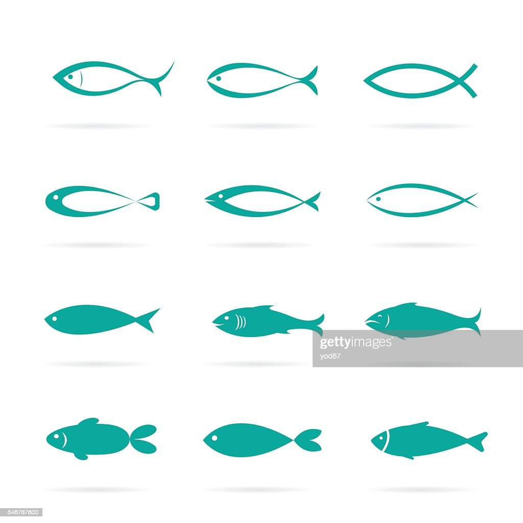 Set of vector fish icons.