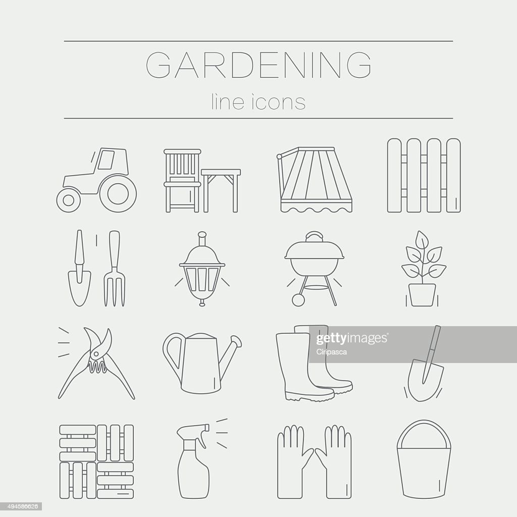 Set of vector flat design icons for gardening