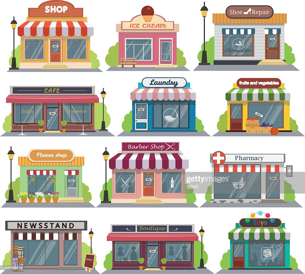Set of vector flat design restaurants and shops facade icons.