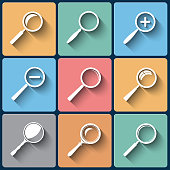 Set of vector flat design search find lupe icones for web and mobile