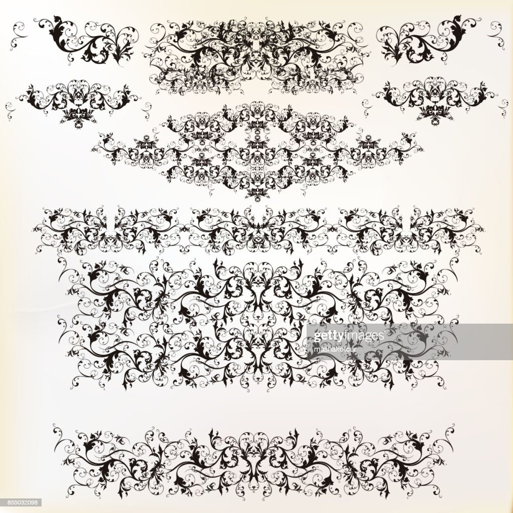 Set of vector floral borders for design