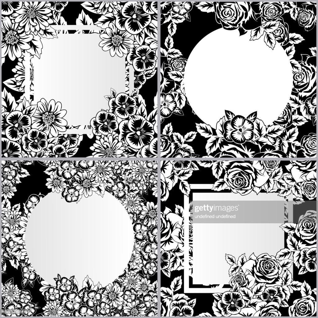 set of vector frames with flowers