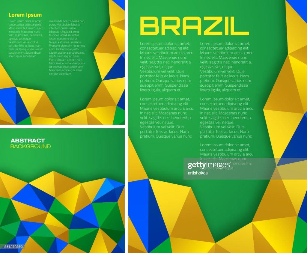 Set of  vector geometric backgrounds using Brazil flag colors.