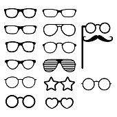 Set of vector glasses. Photo props. Hipster style. Different glasses types. Vector
