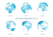 Set of vector globe with all continents.