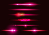 Set of Vector Glowing Neon Light Effects. Abstract Pink Line with Radiance and Bokeh Effect. UI Design Element. Transparent Lens Flare. Futuristic Vibrant Glow for Game Design, Banner, Frame, Button.