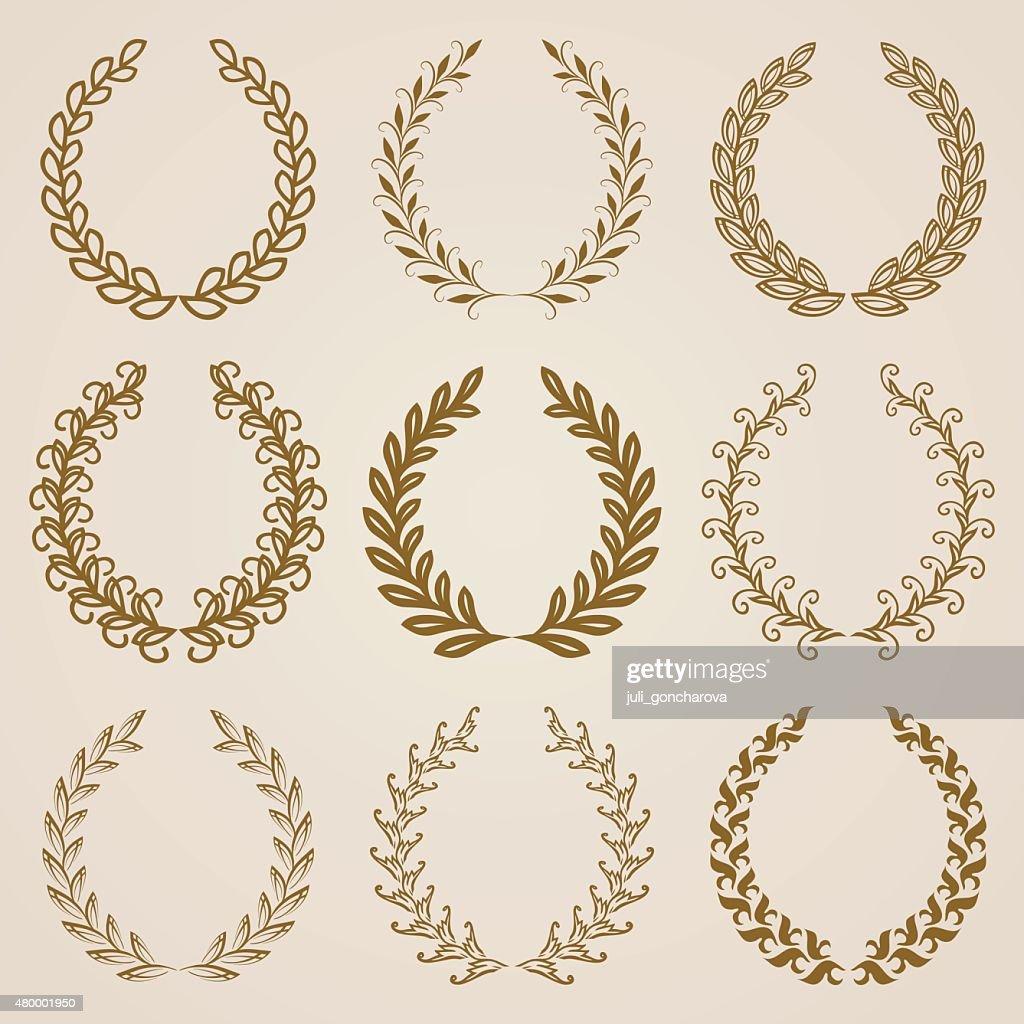 Set of Vector gold laurel wreaths