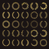 Set of vector golden laurel wreaths.