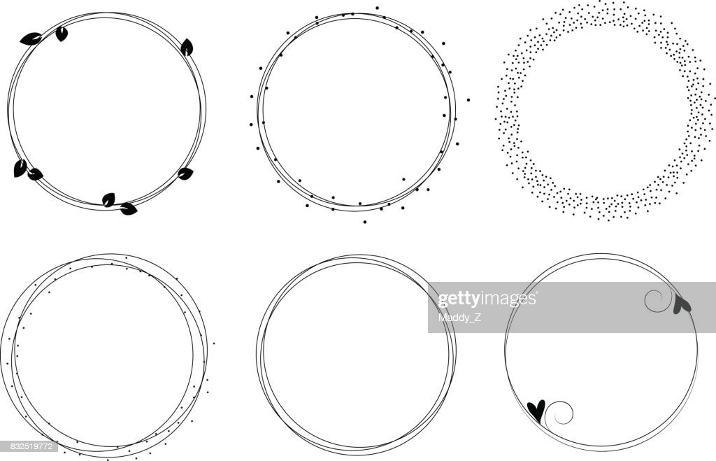Set of vector graphic circle frames. Wreaths for design, logo template. Branches, dots, hearts