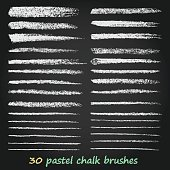 Set of vector grunge brushes created with chalk and charcoal.
