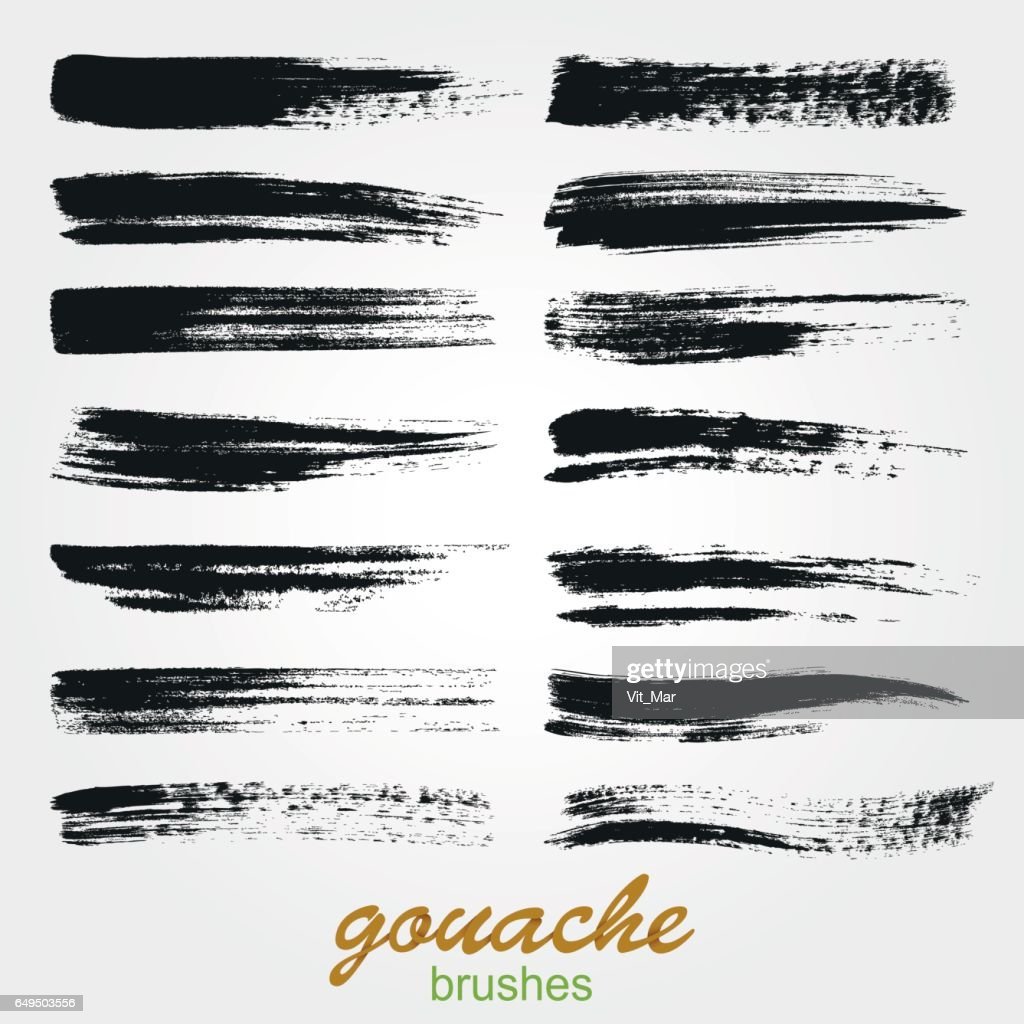 Set of vector grunge brushes created with gouache. A high resolution.