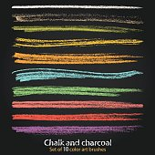 Set of vector grunge brushstrokes created with chalk and charcoa