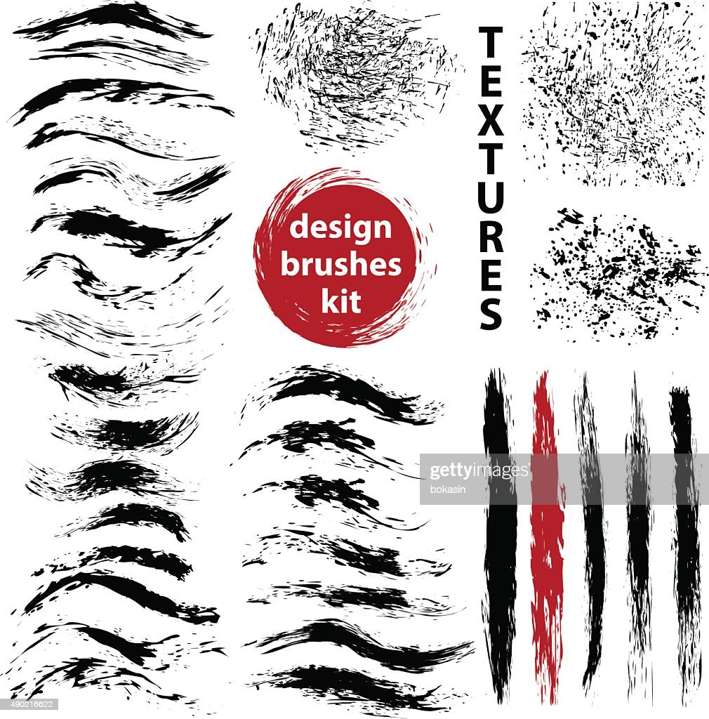 Set of vector grungy ink art brushes for illustrator.