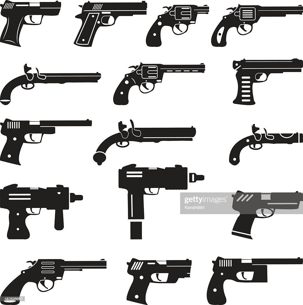 Set of vector guns, handguns and pistols