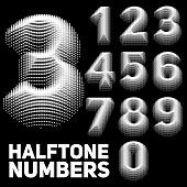 Set of vector halftone embossed numbers. Dotted embossed numbers. Monochrome design.
