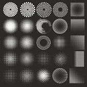 Set of vector halftones globe
