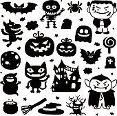Set of vector Halloween elements