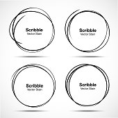 Set of vector hand drawn circles using sketch drawing scribble circle lines. Doodle circular logo design elements.
