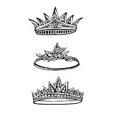 Set of vector hand drawn ornate crowns